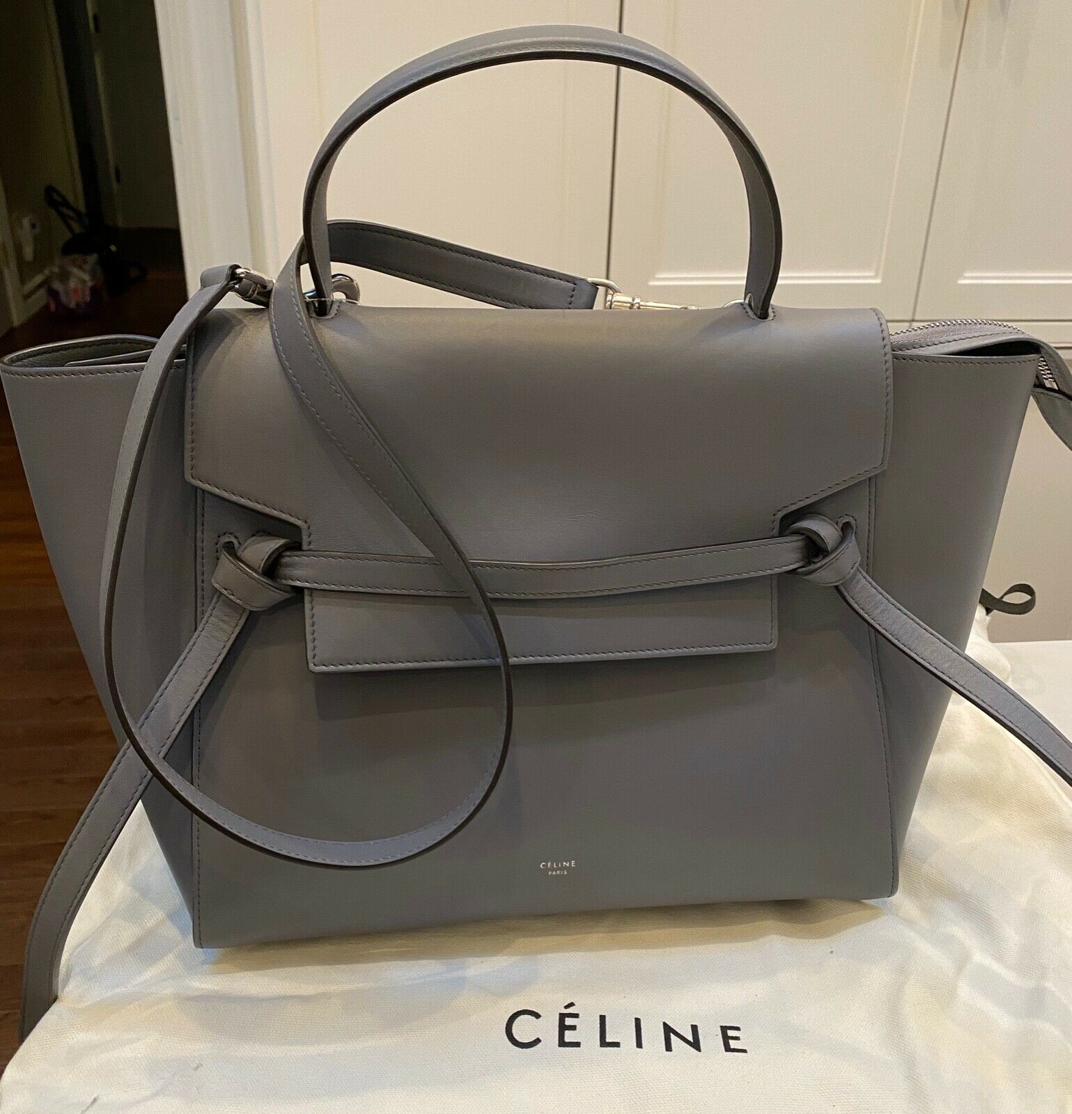 Celine Authentic Mini Belt Bag In Light Taupe Grained Calfskin For Sale Online Ebay