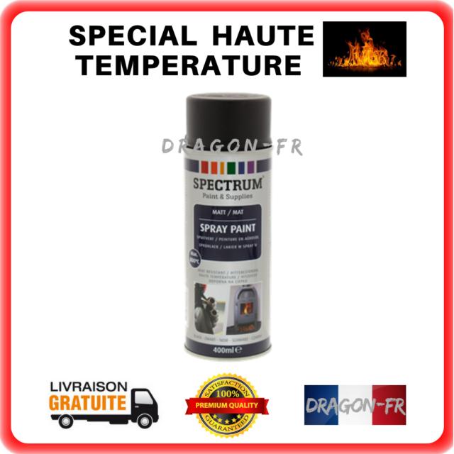 1 Bombe Peinture 800°c Noir Mat Haute Température Aérosol Auto Moto Moteur Pot