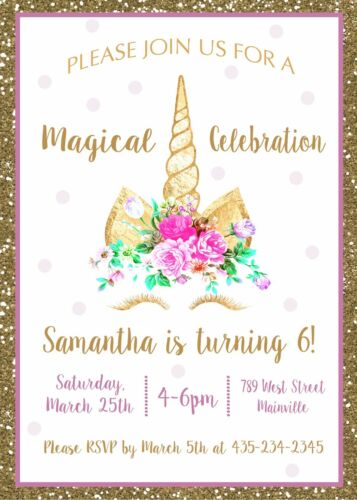 Unicorn Birthday Party Invitation Unicorn Cake Invitation Gold Pink