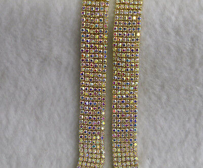 clear AB 2mm glass crystal rhinestone compact gold chain trims fashion applique