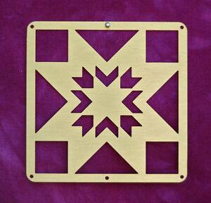 Mini-Barn-Quit-Metal-2-5-034-Bronze-Quilt-Block-Lone-Star-Pattern