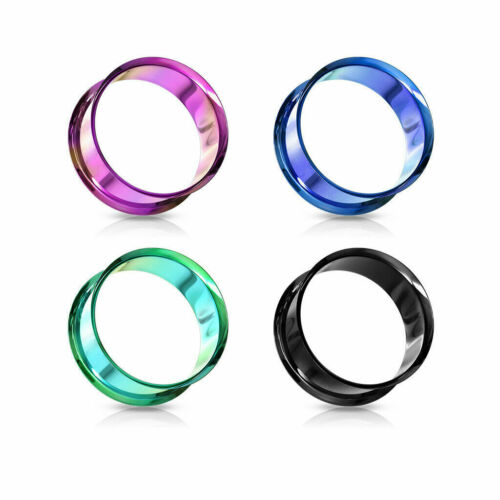 Pair of Titanium Anodized Double Flare Ear Lobe Plugs Tunnels Earlets Gauges