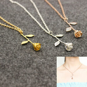 Women-Fashion-Rose-Flower-Charm-Necklace-Pendant-Rose-Gold-Silver-Jewelry-Gift
