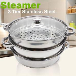 Acier inoxydable 3 niveaux induction aliments légumes steamer cuisinière pan pot couvercle en verre