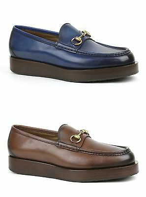 a754f5333 Details about $840 New Gucci Mens Shaded Leather Platform Horsebit Loafer  Shoes 353043