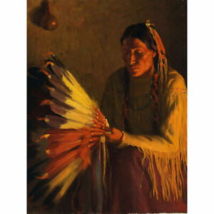 Sharp-War-Bonnet-Native-American-Painting-XL-Canvas-Art-Print