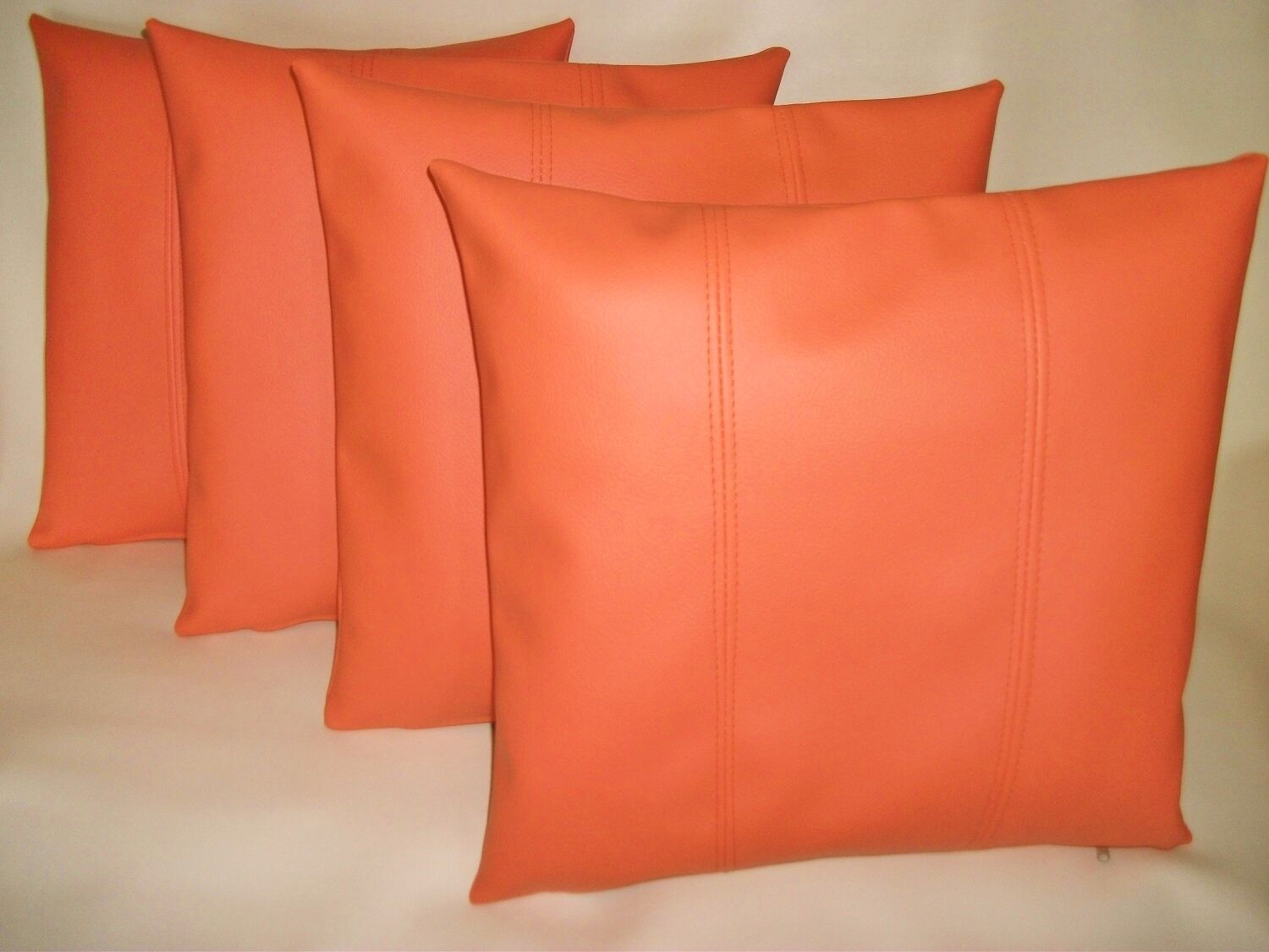 4 Orange Stripe Imitación Cuero Cushion Covers Almohadas de dispersión 16