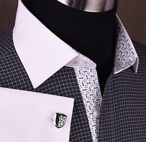 Black-Plaids-amp-Checks-Formal-Business-Dress-Shirt-Contrast-Cuff-Collar-Windmill