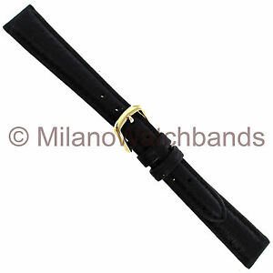 10mm-Hadley-Roma-Black-Genuine-Pigskin-Padded-Stitched-Ladies-Watch-Band-Reg-981
