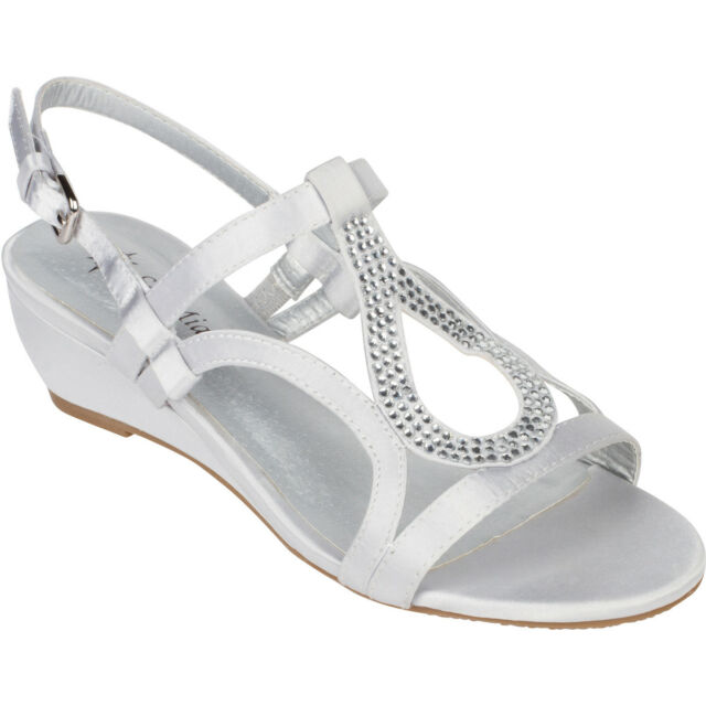 4af629eea54e Silver Dress Shoes Low Heel Wedge Sandals Bridal Wedding Rhinestone Open Toe