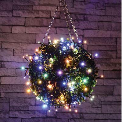 Set 120 Led Ww Multicolore Fata Luci Decorative Natale Xmas Timer All'aperto-mostra Il Titolo Originale