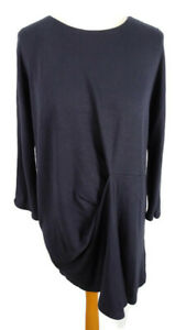 Cos-Dark-Navy-Blue-Black-Dress-Tunic-S-10-12-14-3-4-Sleeve-Ruched-Lagenlook