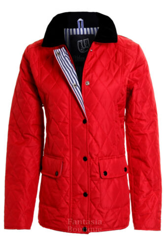 New Ladies Quilted Padded Button Zip Jacket Casual Women/'s Coat Plus Size 8-26