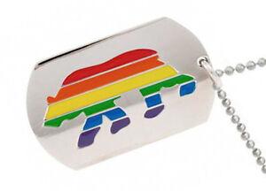 Pride Shack Male Slanted Symbol Mens Gay Pride Pendant Necklace Dog Tag