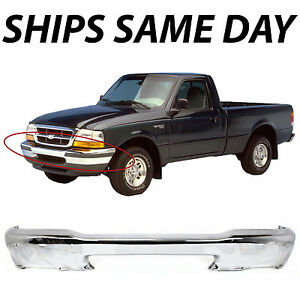 NEW Chrome - Steel Front Bumper Bar For 1998-2000 Ford Ranger 2wd 4wd W/ Holes