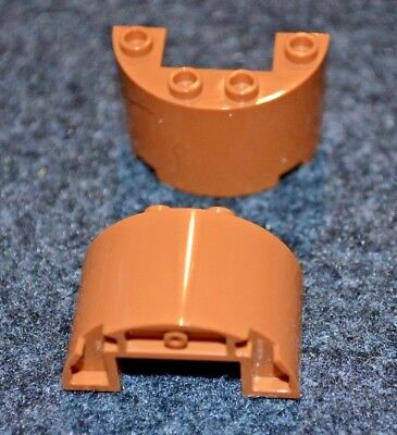 Brown Lego Double Tapered Rock Pattern Slope Bricks 2 4x4 Orange NEW Parts