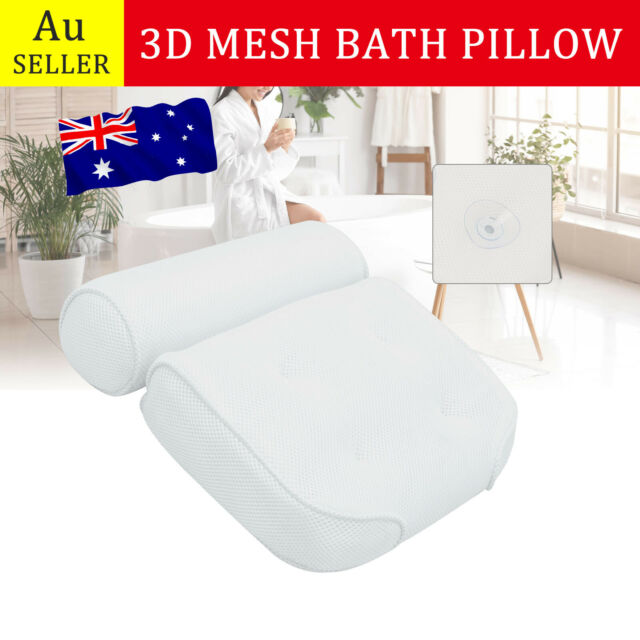 Spa 3D Mesh Bath Pillow Breathable Bathtub Cushion Neck Back Support Tub Suction