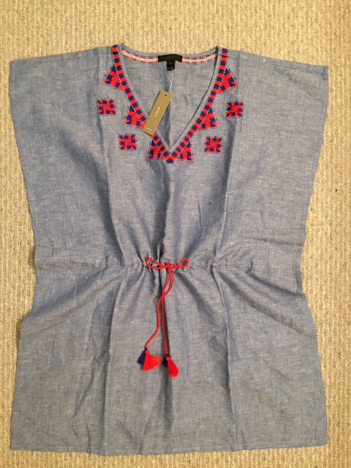 New JCREW Linen Embroidered Tunic F9053 Lapis Size XXS  89.50 CURRENT