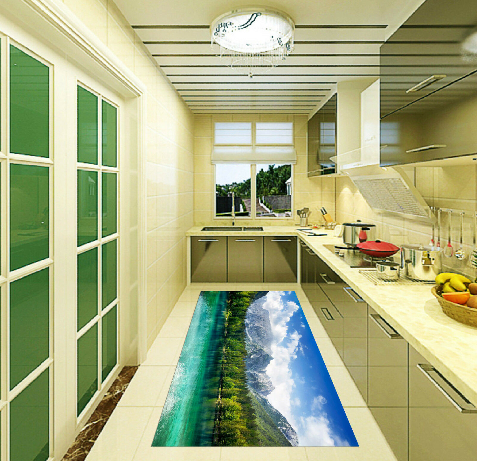 3D Mountain Lake Kitchen Mat Floor Murals Wall Print Wall Deco AJ WALLPAPER CA