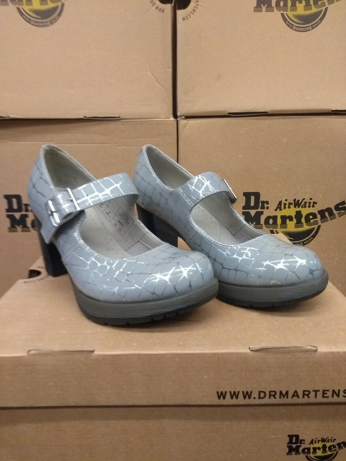 DR MARTENS LADIES MARLENA HEELED SHOE GREY AND SILVER SIZE 3