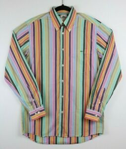 Lacoste-Mens-Size-38-Button-Down-Striped-Shirt-Long-Sleeve-Vintage