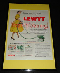 1955-Lewyt-Vacuum-Cleaner-Framed-11x17-ORIGINAL-Advertising-Display-B