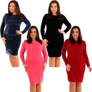 Details about New Womens Plus Size Velvet Long Sleeve Bodycon Midi Dress  14-20