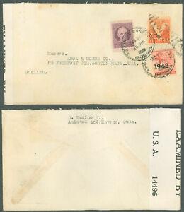WWII-1942c-HABANA-KNOX-amp-MORSE-CO-BOSTON-MA-USA-Cover-CENSOR-EXAMINER-TAPE