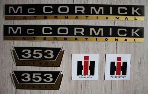 IHC pegatinas mc cormick tractor 353 oro logotipo emblema sticker Label