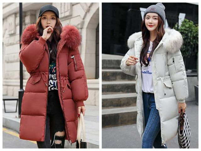 8f87fc02 Women Winter Jacket With Fur Hood Long Down Warm Parka quilted puffer Coat
