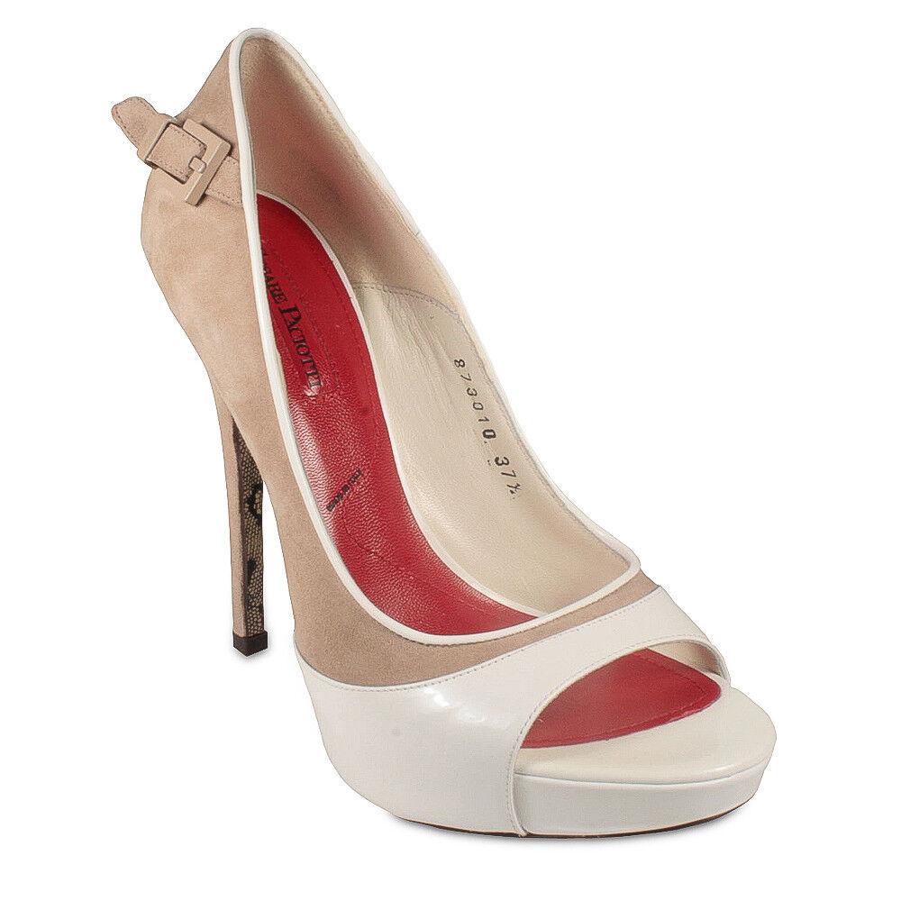 Cesare Paciotti femmes blanc Patent Suede Leather Sandals PB873010 Retails  640