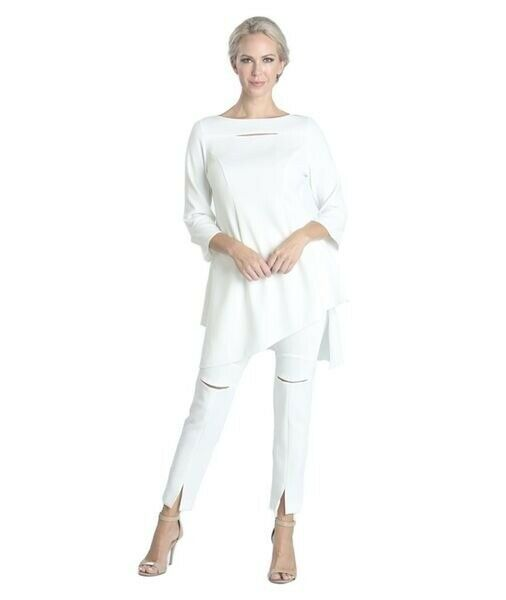 IC Collection by Connie K White Slit Front Techno Slim Pants S NWT  138