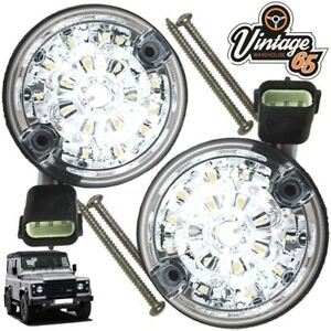 Land-Rover-Defender-Genuine-Wipac-LED-Clear-Rear-Stop-amp-Tail-Pair-73mm-S6065LED