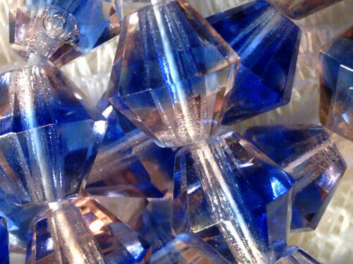Vtg 50 PINK BLUE 2 tone GIVRE FACETED FIRE POLISHED BI-CONE BEADS 8mm #072917e