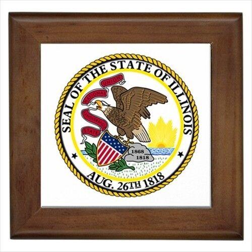 Home Decor Seal Of Illinois USA Wall Tile Art Heraldic Tabard Design