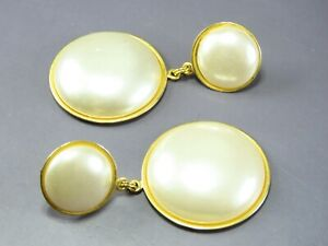 Vintage GOLD TONE DANGLE EARRINGS Large Faux Pearl STUD & ROUND DROP Classy!