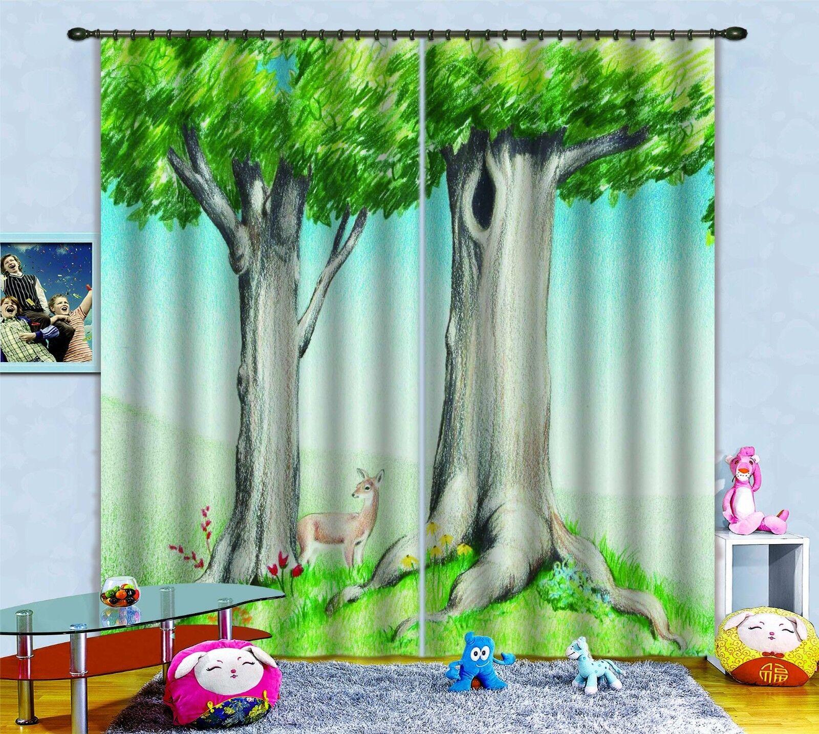 3D Árbol De Ciervo 369 Cortinas de impresión de cortina de foto Blockout Tela Cortinas Ventana Reino Unido