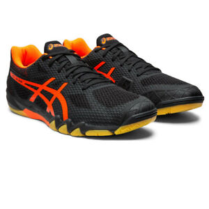 Asics Homme Gel-lame 7 Cour Chaussures-Noir Orange Sports Squash Badminton