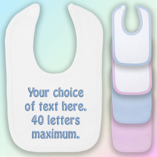 Your Choice of Words Embroidered Baby Bib Gift Personalised Text