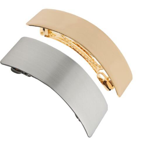 2x Frauen Shiny Metal Curved Rectangle French Haarspange Clip Haarschmuck