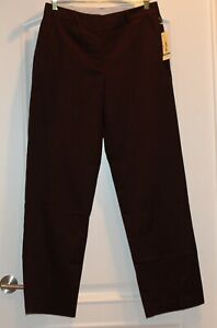 NWT $44 Kim Rogers Shannon Pants Trousers Brown Stretch Straight Leg Relaxed 8