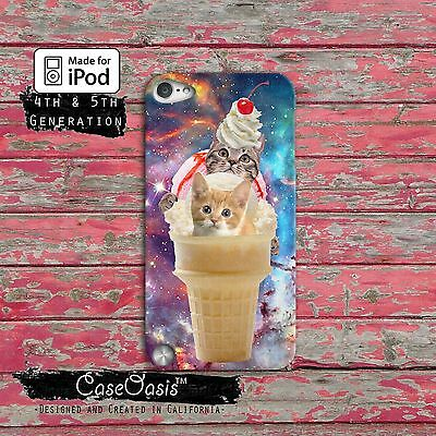 Cats In Ice Cream Cone Outer Space Case Cover For iPod Touch 4th 5th 6th Gen