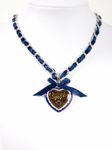 K28 Almbock Trachtenkette blau mit Spatzl Herzanhänger