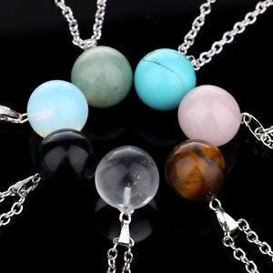 Gemstone-Rock-Crystal-Quartz-Chakra-Natural-Stone-Round-Ball-Pendant-Necklace