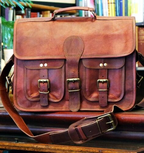 Men/'s Real Goat Leather Vintage Laptop Messenger Handmade Briefcase Bag Satchel
