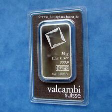 Silberbarren 50 Gramm Valcambi 999 Feinsilber 50g silverbar 50 g