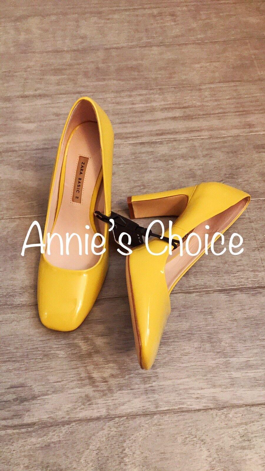 ZARA Wouomo Patent Leather Heels(giallo, US 6.5, 8, 8, 8, 9 EUR 37, 39, 40) f83968
