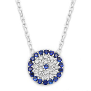 Gold-925-Sterling-Silver-Evil-Eye-Necklace-Greek-Mati-Nazar-CZ-Cubic-Zirconia
