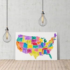 United States Map Wall Decor.Decorative Canvas Print Design United States Usa Map Wall Decor