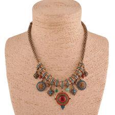 New Gypsy Ethnic Tribal Turkish Boho Chain Bid Necklace Tassel Pendant Fringe Q0